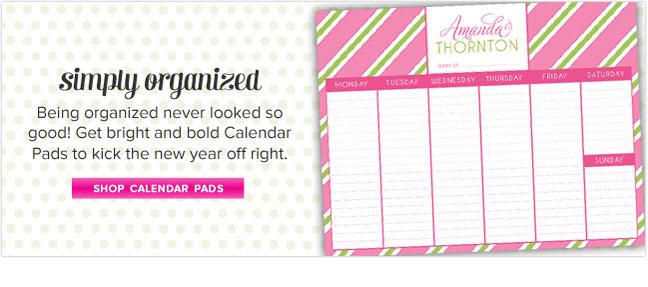 Personalized Calendar Pads