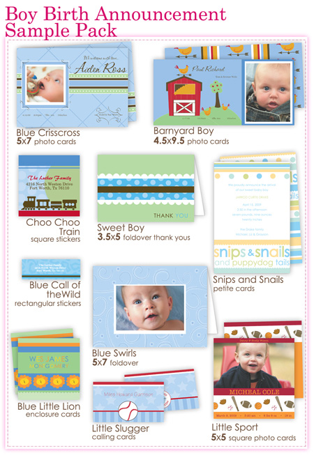 Boy Birth Announcement Sample Pack