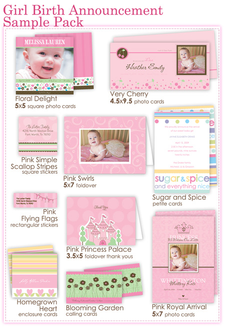 Girl Birth Announcement Sample Pack