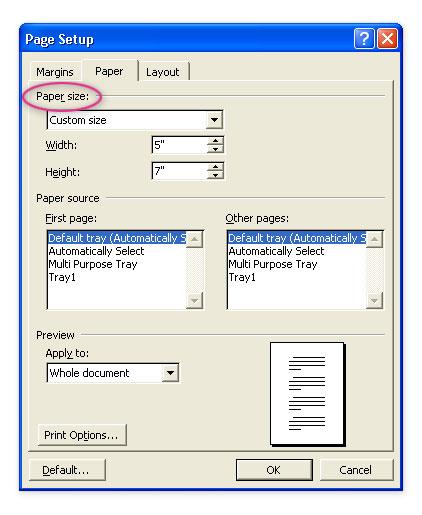 Step 2 Page Setup - Paper Tab