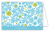 Aqua Lime Garden Folded Note Card