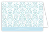 Blue Floral Damask Folded Note Card