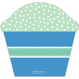 Boy Monogram Cupcake Invitation