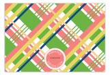 Coral Prepster Plaid Flat Note Card