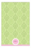 Green and Pink Damask Baby Invitation