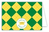 Green and Yellow Argyle Folded Note Card