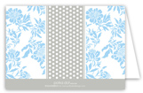 Light Blue Floral Gray Dotted Stripe Folded Note Card