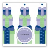 Navy Stacked Presents Gift Tag