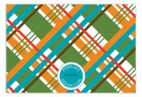 Orange Prepster Plaid Flat Note Card