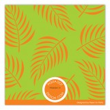 Orange Tropical Leaves Photo Card