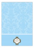Passion Vine Damask Blue Photo Card