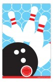 Patterned Pin Bowling Party Photo Card