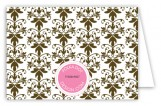 Pink Floral Damask Folded Note Card