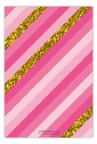 Pink Glitter Stripe Flat Note Card