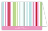 Pink Green Stripes Folded Note Card