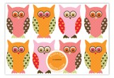 Pink Pattern Owls Flat Note Card