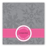 Pink Snowy Grosgrain Gift Tag