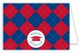 Red and Blue Argyle Folded Note Card