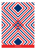 Red White and Blue Graphic Pattern Invitation