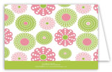 Retro Pink Green Flowers Folded Note Card