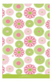 Retro Pink Green Flowers Photo Card