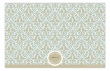 Sky Blue and Taupe Damask Photo Card