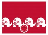 Red Background Trendy White Elephant Invitations