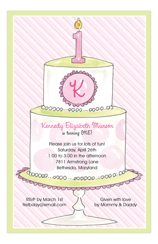 1st Birthday Cake Pink Invitation
