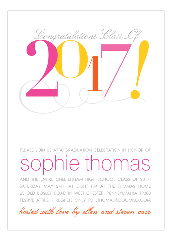 2017 Confetti Cute Graduation Invitations for Girls