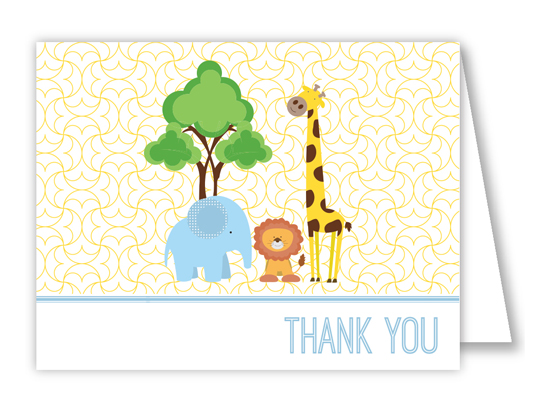 Baby Shower Animals Blue Thank You Note