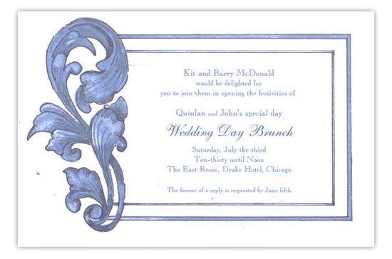 Teal Acanthus Wedding Day Brunch Invitations