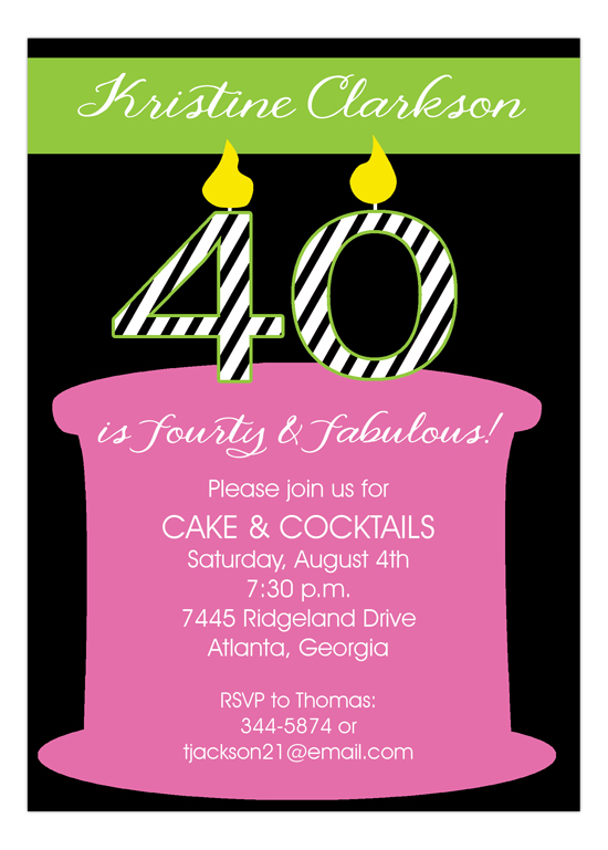 40 Candles On The Cake 40th Birthday Invitations