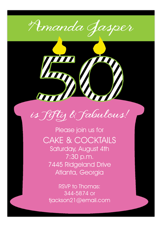 50 Candles On The Cake Invitation Picpd Np57py21995ijp
