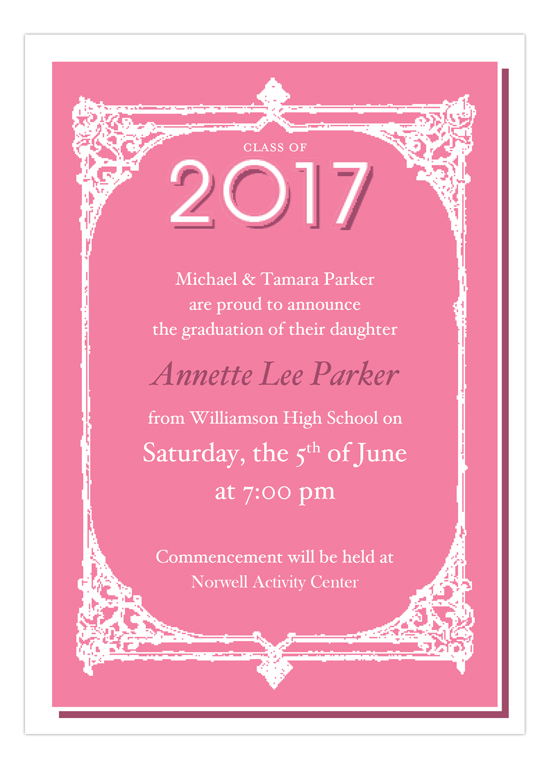 Antique Frame Pink High School Grad Invitations