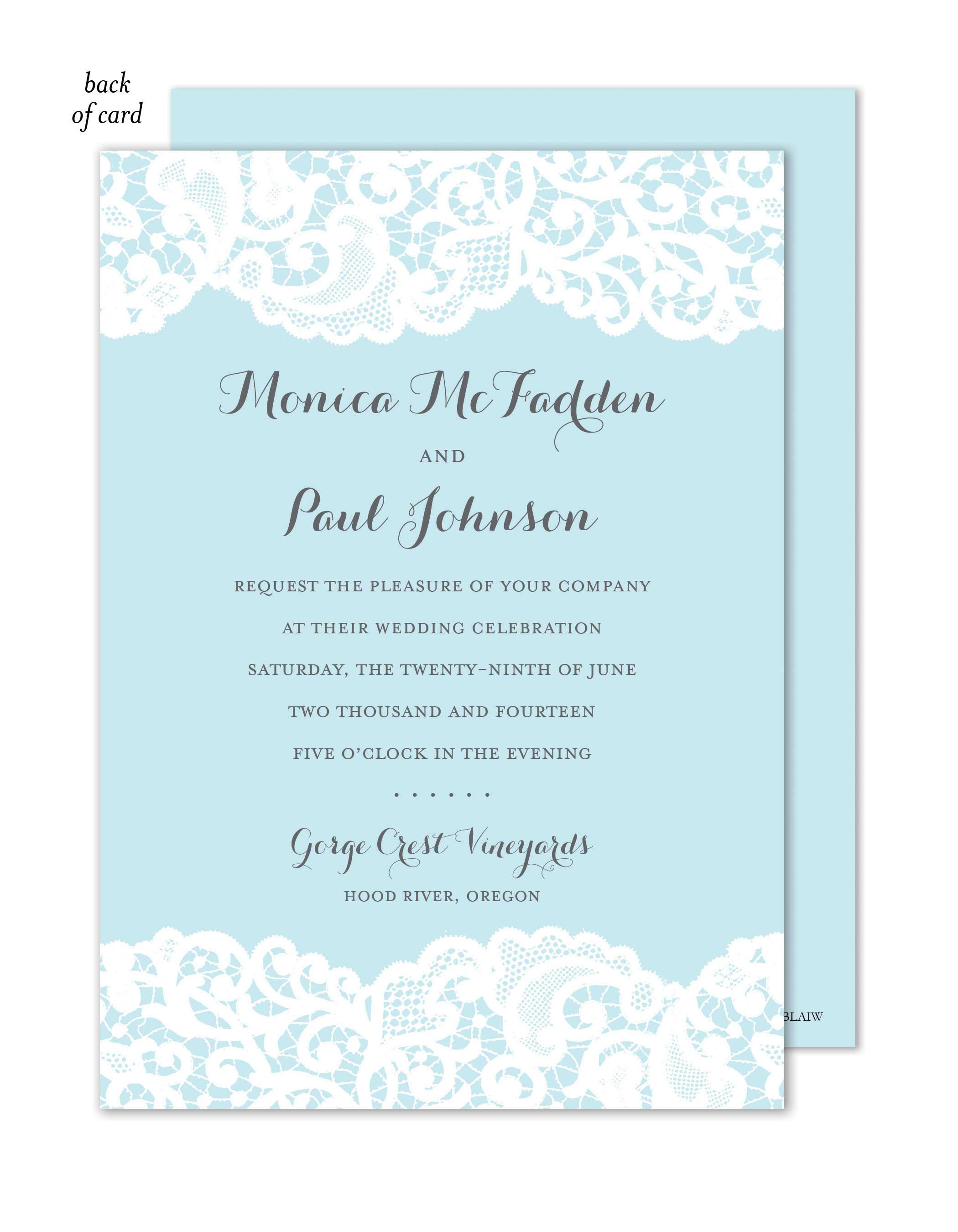 Blue Lace Wedding Suite Invitation | Polka Dot Design