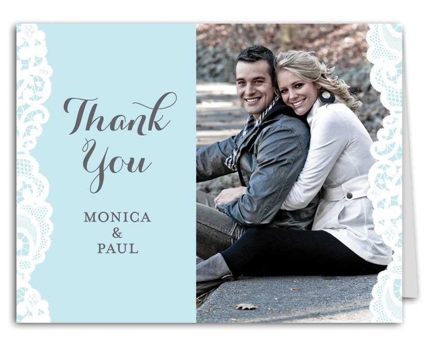 Blue Lace Wedding Suite Thank You Note