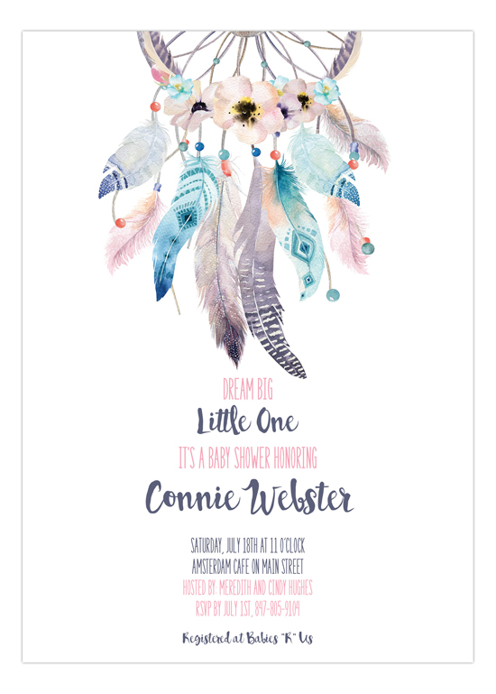 Boho Feathers Dream Catcher Baby Shower Invitations Impressive Dream Catcher Baby Shower Invitations