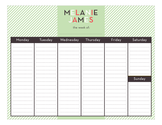 Mint Stripes Calendar Pad