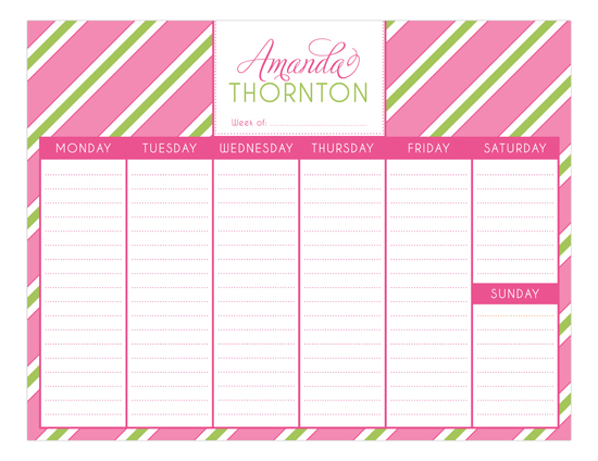 Pink Oxford Stripes Calendar Pad