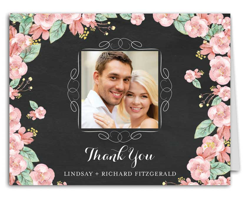 Chalkboard Floral Wedding Suite Thank You Note
