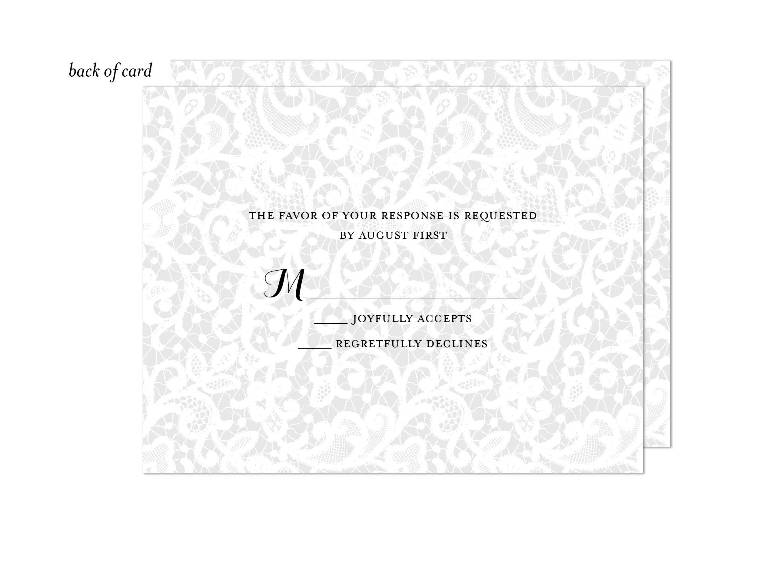 Chantilly Lace Wedding Suite Response Card