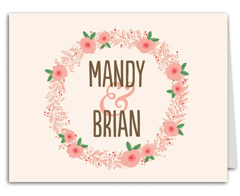 Floral Wreath Wedding Suite Thank You Note