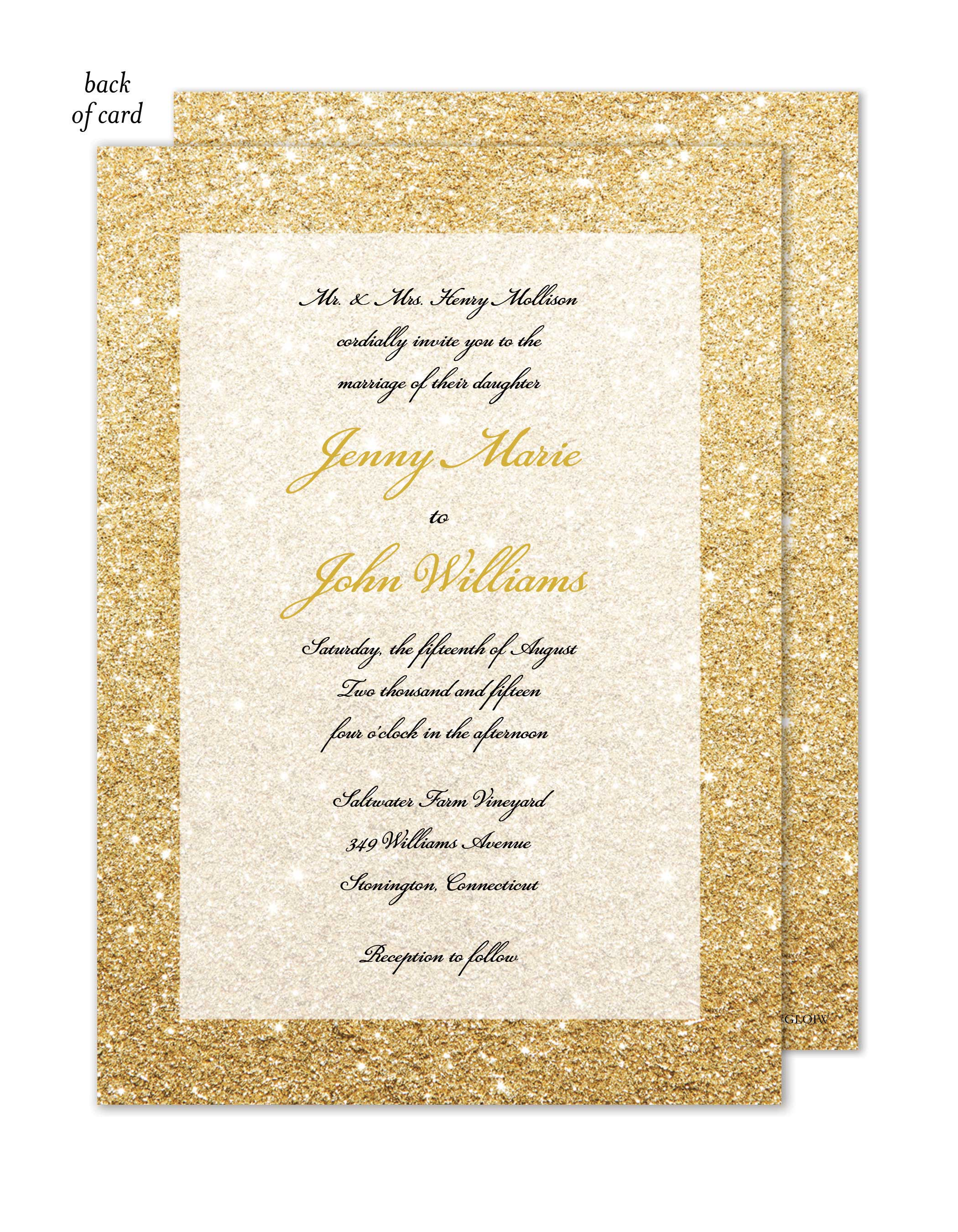 Glitter Ombre Wedding Suite Invitation