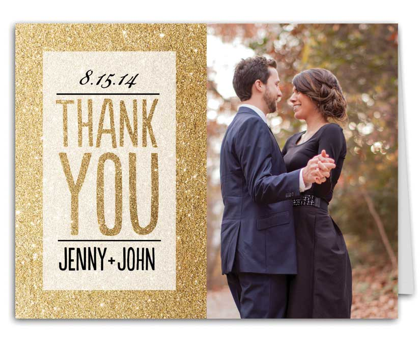 Glitter Ombre Wedding Suite Thank You Note