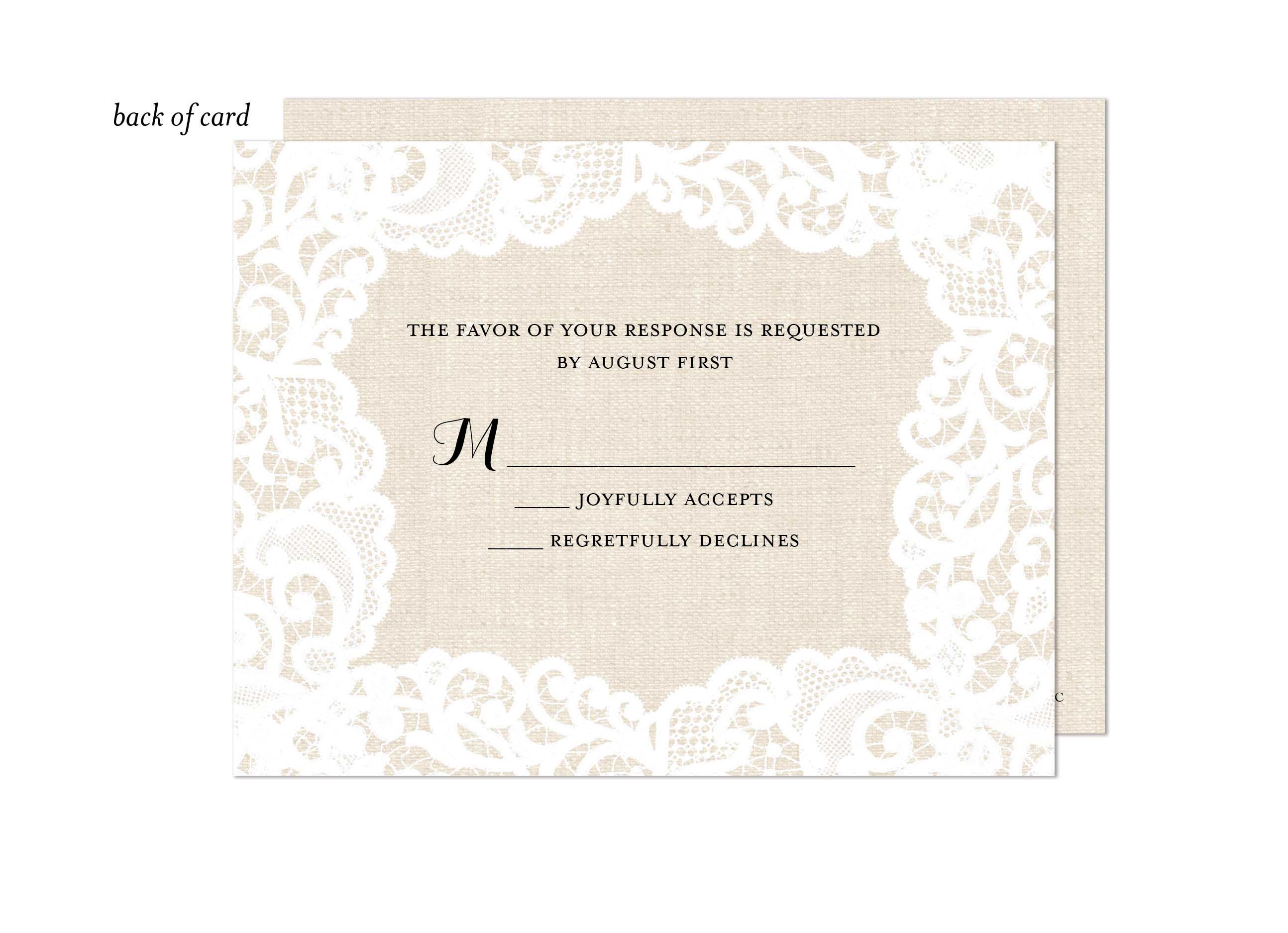 Linen Lace Wedding Suite Response Card