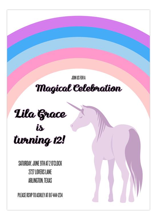 Lavender Unicorn Party Invitations