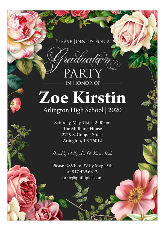 Floral border pinks cute graduation announcement ideas floral border pinks filmwisefo