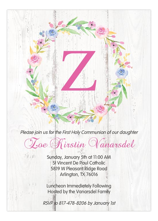 First communion invitations np57rc1804 shabby chic springs blooms floral wreath first communion invitations solutioingenieria
