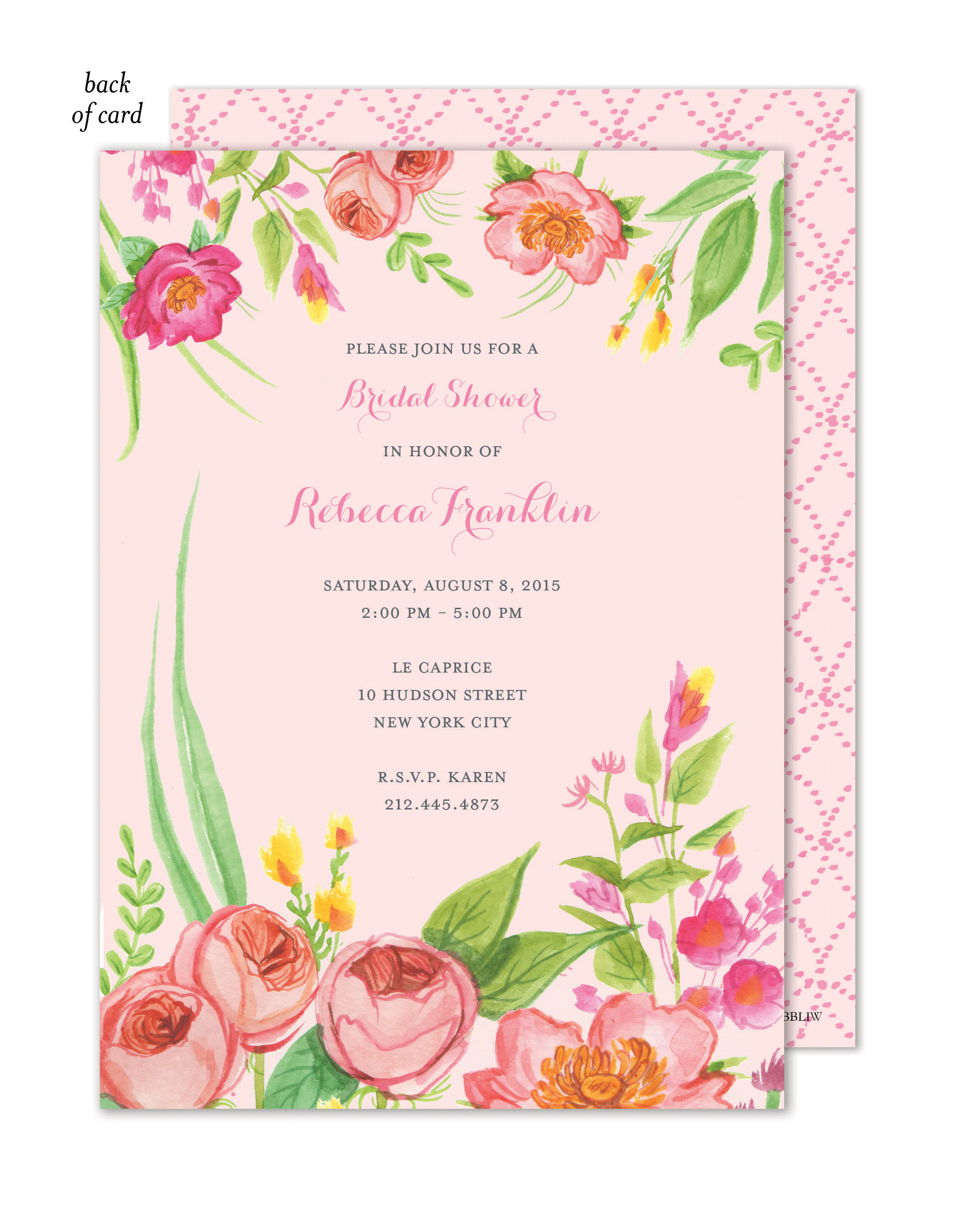 Pink Blossoms Bridal Shower Invites