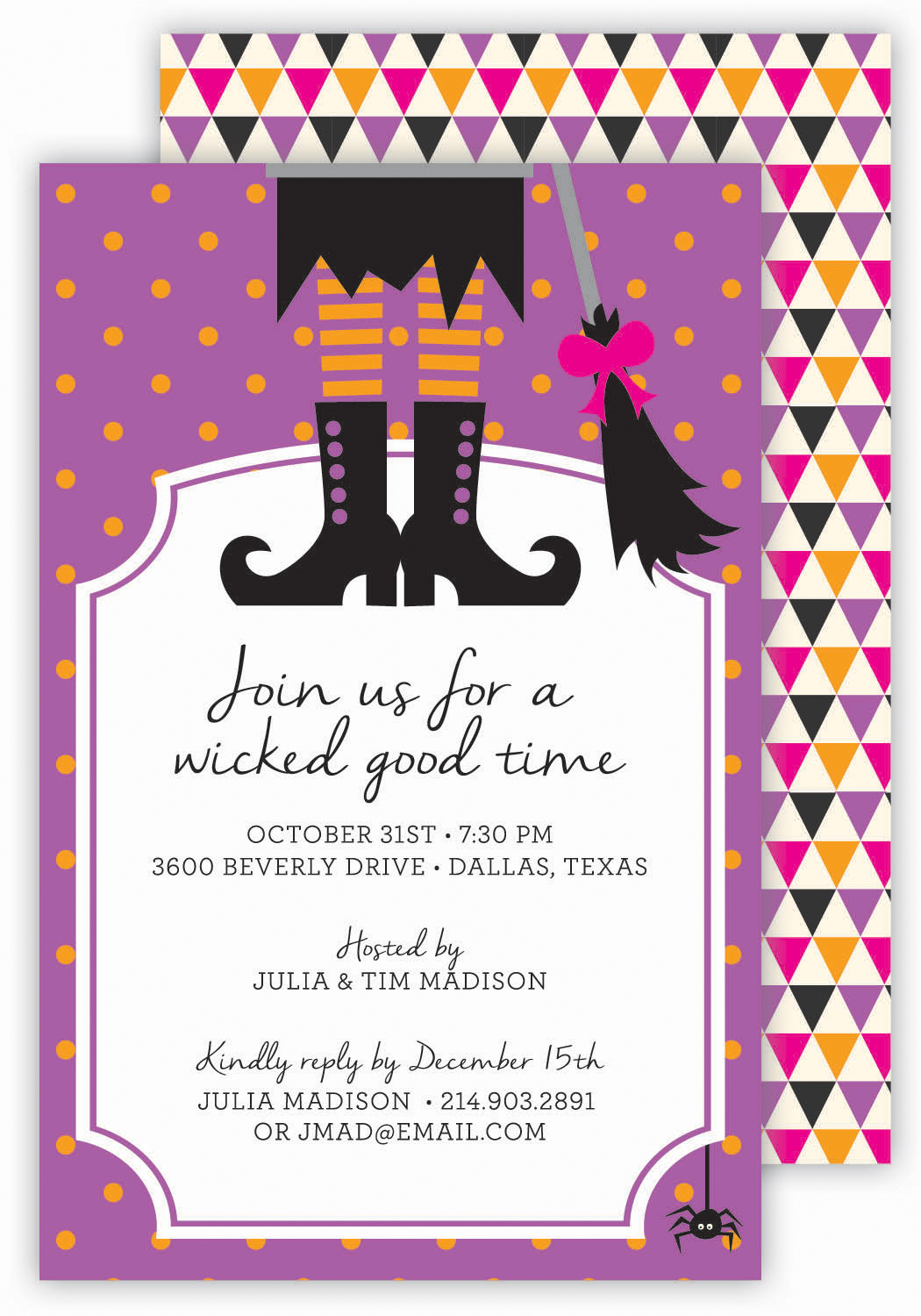 Witch Boots Halloween Invitation